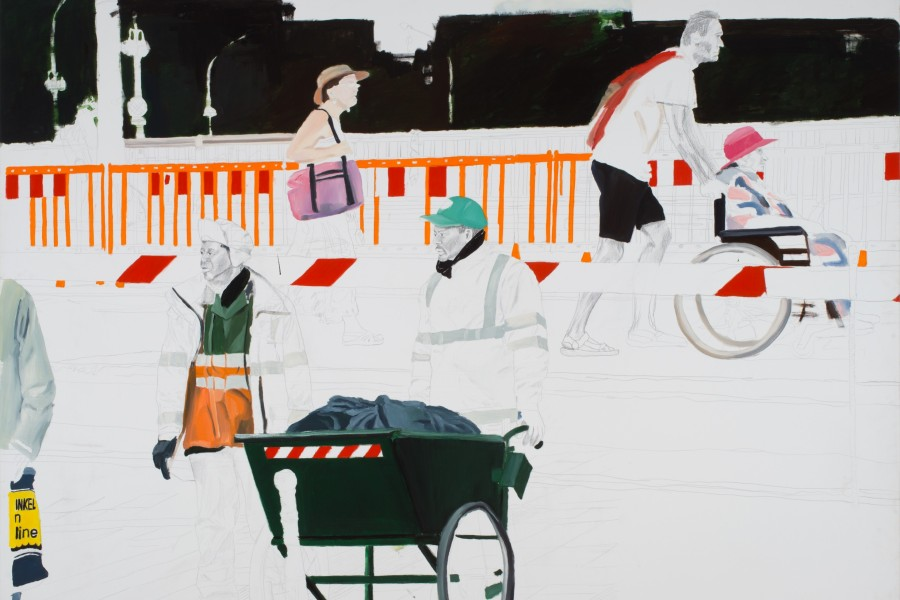 Kim Corbisier: Le Promenade , 150x197 cm, oil, pencil, 2009