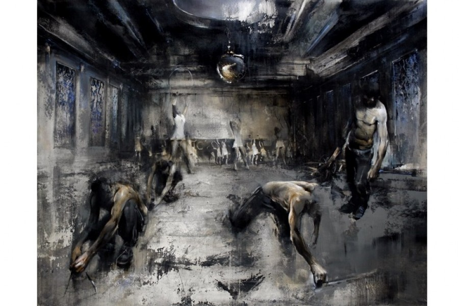Zsolt Bodoni School of Athens 2012, acrylic and oil on canvas 73x90.5 in 185 x 230 cm